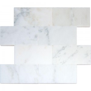 6 in. x 12 in. Arabescato Carrara White Honed Marble Subway Tile