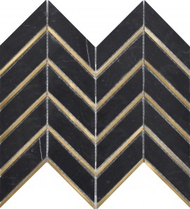 Nero Marquina Chevron Pattern Metal Marble Mosaic Tile | Roca Tile | Exterior Wall | Interior Wall | Natural Stone | Accent Wall