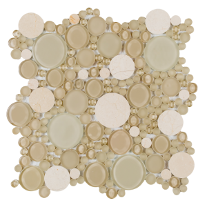 Oompa Marfil Multi Size Round Shape Creme Marfil Stone & Marfil Light Beige Glass Mosaic Tile