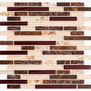 Pelasgus 11.75 x 12 Dark Emperador Stone with Beige Glass & Resin Sea Shell Mosaic Tile