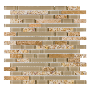 Pelasgus Deity 11.75 x 12 Off Set Pattern Emperador Stone, Beige Glass with Beige Resin Mosaic Tile