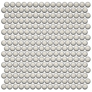 Pearl White Penny Round Porcelain Mesh Mounted Mosaic Tile by Roca Tile USA