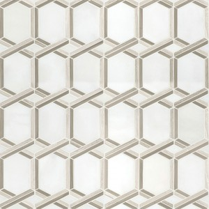 Geometric Pattern Polished Marble Mosaic Tile - Royal Link | Wall | Floor | Backsplash | Vertical Wall | Shower | Fireplace | Kitchen | Bathroom | Countertop