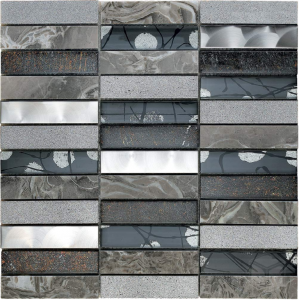 Artist Grey Glass and Stone Blend Mesh Mounted Mosaic Tile