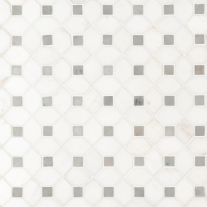 Bianco Dolomite Geomatric Pattern Polished Marble Mosaic Tile | Wall | Residential Floor | Backsplash | Fireplace | Countertop