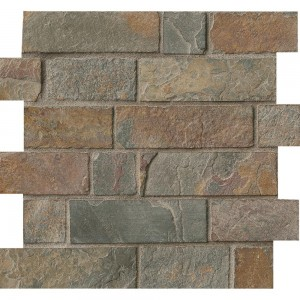 12x12 California Gold Slate Tumbled Brick Mesh-Mounted Mosaic Tiles