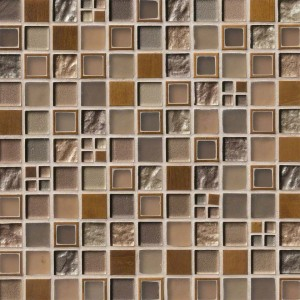 Multi Color (Rich Grays, Browns, & Creams) Manhattan Glass and Metal Blend Mosaic Tile