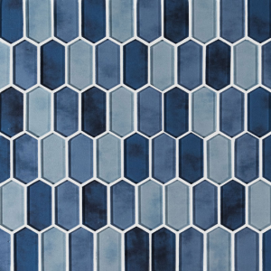 Boathouse Blue Glass Picket Pattern Mosaic Wall Tile