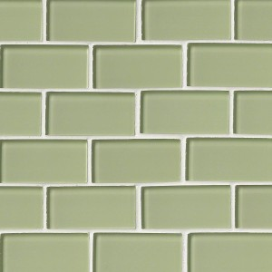 2x4 Mint Green Subway Glass Mosaic Tile