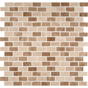 1/2 x 1.5 Noce Chiaro Travertine Mini Brick Pattern Honed Finish Mosaic Tile