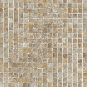 5/8 x 5/8 Giallo Crystal Onyx Square Pattern Polished Finish Mesh Mounted Mosaic Tile