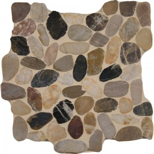 Mix River Pebbles Pattern 10mm Tumbled Marble Mosaic Tile