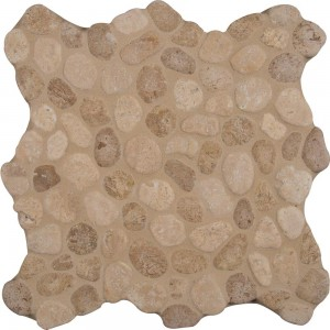 12 in. x 12 in. Travertine Blend Pebbles Tumbled Mosaic Tile | Wall | Residential Floor | Backsplash | Countertop