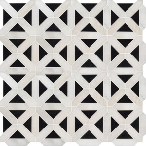 Geometric Pattern Polished Marble Mosaic Tile - Retro Fretwork | Wall | Floor | Backsplash | Vertical Wall | Shower | Fireplace | Kitchen | Bathroom | Countertop