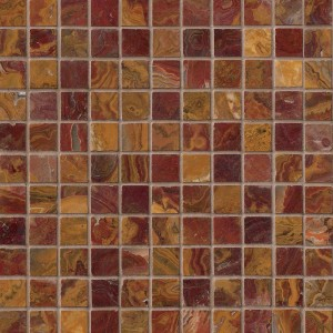 1x1 Multi Red Onyx Square Pattern Polished Finish Mosaic Tile