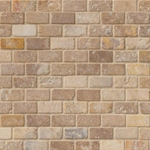 Tuscany Scabos Travertine 1x2 Brick Tumbled Finish Mosaic Tile