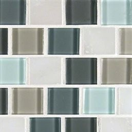 1.25x1.25 Broadway Desert Mirage Glass Stone Blend Mosaic Tile