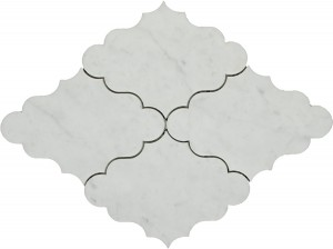 Masterpiece White Carrara Opus Pattern Polished Mosaic Tile by Soci
