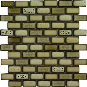 1×2 Keaton Blend Brick Pattern Polished Mosaic Tile by Soci