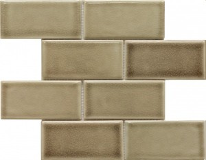 3×6 Fog Crackle Subway Pattern Polished Mosaic Tile by Soci