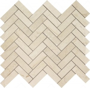Long Crema Marfil Herringbone Pattern Polished Mosaic Tile by Soci