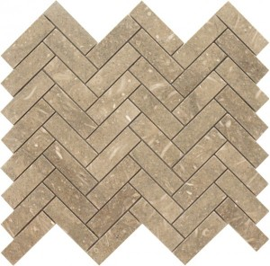 Long Seagrass Herringbone Pattern Polished Mosaic Tile by Soci