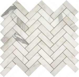 Long Calacutta Herringbone Pattern Polished Mosaic Tile by Soci