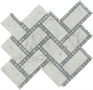 Glacier Blend Manhattan Pattern Polished Mosaic Tile by Soci