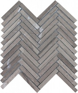 Athens Gray Herringbone Pattern Polished Mosaic Tile by Soci