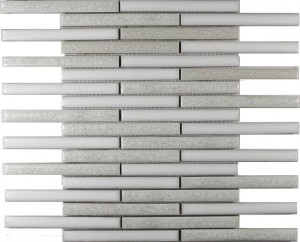 Oxford Blend Staggered Bar Stripe Pattern Polished Mosaic Tile by Soci