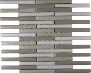 Alabaster Blend Staggered Bar Stripe Pattern Polished Mosaic Tile by Soci