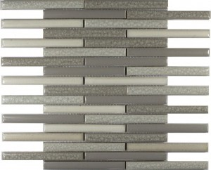 Parchment Blend Staggered Bar Stripe Pattern Polished Mosaic Tile by Soci