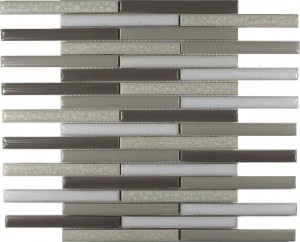 Raffia Blend Staggered Bar Stripe Pattern Polished Mosaic Tile by Soci