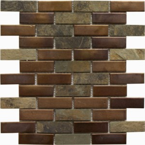 1×3 Ruston Blend Brick Pattern Polished Mosaic Tile by Soci