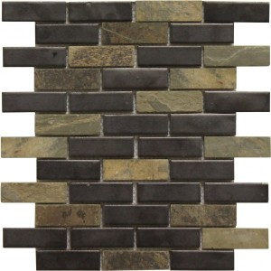 1×3 Colton Blend Brick Pattern Polished Mosaic Tile by Soci