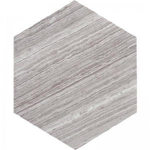 "10"" Hexagon Wooden Grey Marble Tile"