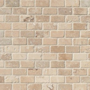 1x2 Chiaro Travertine Brick Pattern Tumbled Mosaic Tile