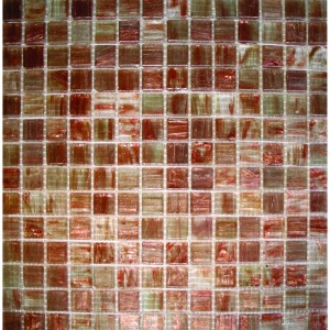 "3/4"" x 3/4"" Iridescent Light Brown Glass Mosaic Tile"