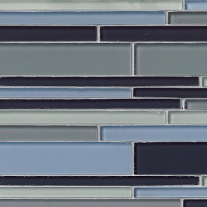 Key Largo Interlocking Blue Blend Pattern Glass Mosaic Tile
