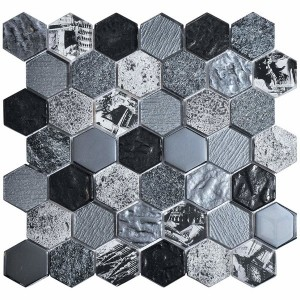 Hexagon Tour 2x2 Black Glass and Marble Mosaic Tile