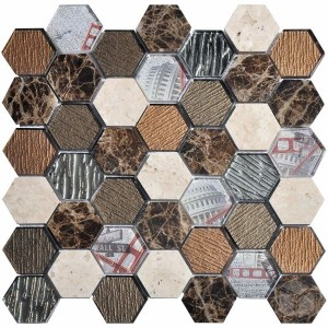 Hexagon Tour 2x2 Brown Glass and Marble Mosaic Tile