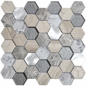 Hexagon Tour 2x2 Grey Glass and Marble Mosaic Tile
