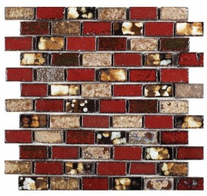 1x2 Brick Red, Beige and Brown Handmade Ceramic Mosaic Tile