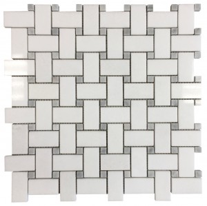 Thassos White Basketweave Pattern with Grey Marble Dot Polished Mesh-Mounted Marble Mosaic Tile
