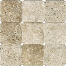 4x4 Tuscany Walnut Travertine Tumbled Mosaic Tile