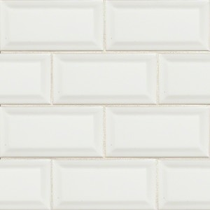 3 in. x 6 in. White Glossy Beveled Subway Ceramic Tile