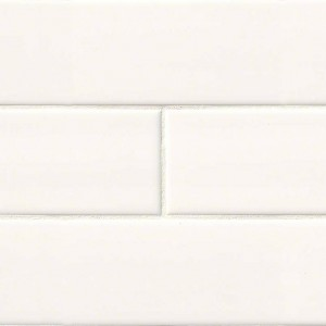4 in. x 16 in. White Glossy Subway Ceramic Tile