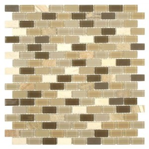 Peanut Mixed Brick 11-1/4 in. x 11-3/4 in. x 4 mm Glass and Stone Mosaic Wall Tile