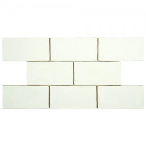Checker Glossy White Rectanglur 3 in. x 6 in. Ceramic Wall Tile (1 sq. ft. / pack)