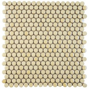Galaxy Beige-Cream Penny Round Matte and Glossy Almond Porcelain Mosaic Tile